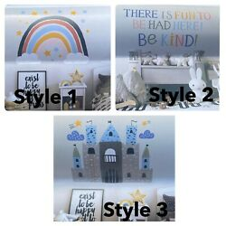 Target removable wall art.  6 sheets.  3 style options. Rainbow, Be Kind, Castle