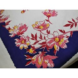 Kyпить Bold Dark Blue Red Pink Daisies Yellow accents Vintage Tablecloth на еВаy.соm