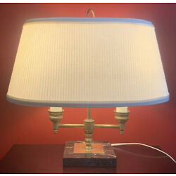"Kyпить VTG Antique Bouillotte Brass & Marble Desk Table Lamp w/ Shade 15"" Tall на еВаy.соm"