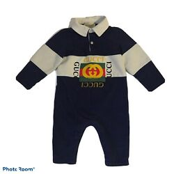 Kyпить GUCCI Baby Boy One Piece Jumpsuit Blue Logo Long Sleeve Size 6 to 9 Months $310 на еВаy.соm