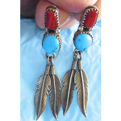 Kyпить NATIVE AMERICAN STERLING SILVER NAVAJO TURQUOISE CORAL FEATHER EARRINGS  на еВаy.соm