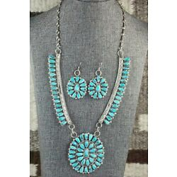 Kyпить Turquoise & Sterling Silver Necklace and Earrings Set - Justina Wilson на еВаy.соm