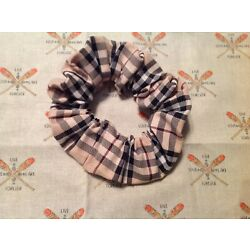 Handmade Hair Scrunchies Upcycled Burberry Fabric lot of 2