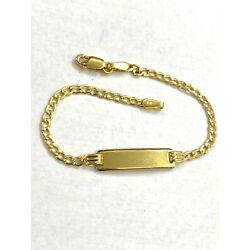 """14kt Gold Baby ID Bracelet With Free Engraving 5 1/2 """" Quban"""