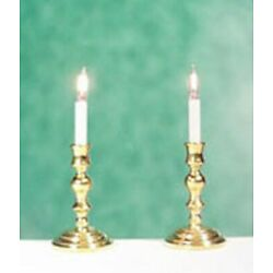 Dollhouse Miniature Elegant Electric Candlesticks by Clare-Bell Brass