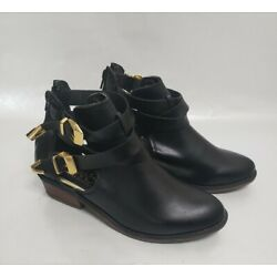 Stefano Di Roma Women's Sz 7 Black Chunky Heeled Bohemian Booties, Ankle Boots