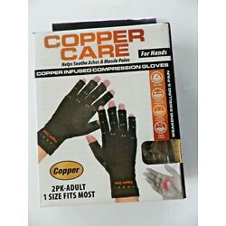 A Pair of Copper Care Copper infused compression gloves Adult -1 Size Fits Most