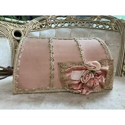 Kyпить French Pale PINK Boudoir Lamp shade Millinery Ribbon roses Lace 1920's vintage на еВаy.соm