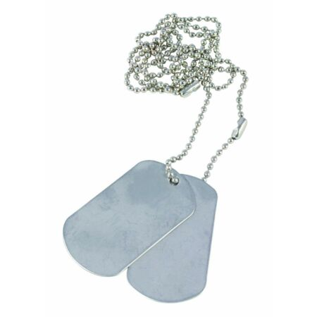 img-Two x US USA Army Military Style Silver Colour Metal Military ID Dog Tags