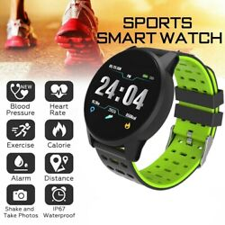 Bluetooth Smart Watch Phone Heart Rate Monitor Tracker For iOS Android Black