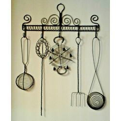 WALL HANGING-KITCHEN UTENSILS-METAL-BLACK-UNIQUE-ONE OF A KIND!  EXTREMELY CLEAN