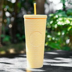 Starbucks China 2021 New Butter Yellow Matte Studded 24oz Straw Cup Tumbler