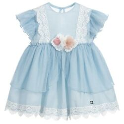 Girls Pale Blue Dress With A Dotty Lace Over-Lay By Dolce Petit Size 8 Years