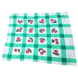 Vintage 1950s Cherry Print Green Plaid Napkin Fruit Red Gingham Checked LOT