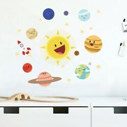 Cartoon Solar System Wall Sticker Planet Kids Child room Background for Home Dec