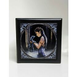 ANN STOKES CERAMIC TILE ☆DRAGON WATER☆ MYTHICAL MAGIC SPELL TRINKET JEWELRY BOX