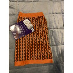 Pet Life Dual Color Weaved Dog Sweater Size Large Orange And Brown