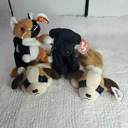 Ty Beanie Babies Lot Set of 4 Dogs and Cat 1996 1997 1999