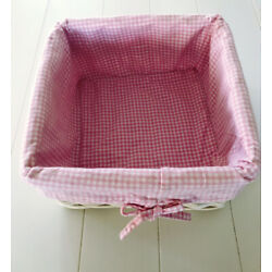 Pottery Barn Kids White Square Sabrina Basket with Pink Gingham Liner