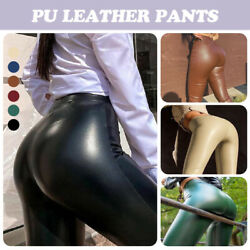 Women Sexy Wet Look Faux Leather Leggings Plus Size High-waist Stretch Pants