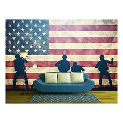 Digital Art Wall Decals Military American Flag Mural Vinyl Wall Decals 2 Sizes