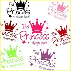 Cute PRINCESS SLEEP HERE Quote Wall Sticker Art Decal Vinyl For Home Room Decor