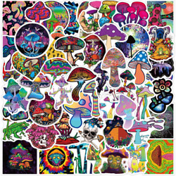 10pcs Psychedelic Mushroom Stickers Trip High Colorful Toadstool Edible Vinyl