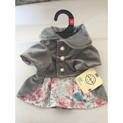 Bond & Co Pink Floral Lined Jacket For Dogs XS Grey Velour Faux Pearl Button New