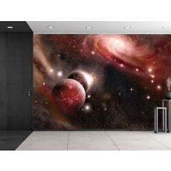 Digital Art Wall Decals Galaxy Planets and Stars Mural Vinyl Wall Decals 2 Sizes