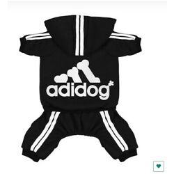 ADIDOG PET CLOTHES SWEATER HOODLE JEACKET 4 LEGS OUTFIT JUMPSIUIT (BLACK)4.5LBS