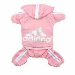 ADIDOG PET CLOTHES SWEATER HOODLE JEACKET 4 LEGS OUTFIT JUMPSIUIT(PINK)4.5LBS