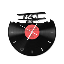 Hand-Crafted Authentic Vinyl clock Crop Duster Aeroplane Vintage Decor Silent