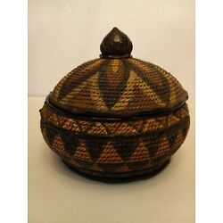 Indian, or African, hand-made bowl with lid