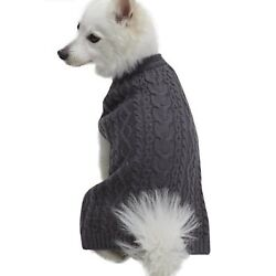 Blueberry Pet Classic Wool Blend Cable Knit Pullover Dog Sweater Back Length 18
