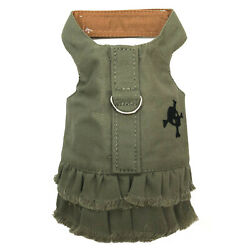 Green Fringe w/Skull Doggie Harness Dress, S (Chest 21''-24''), by Doggles, NWT