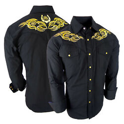 Mens Country Western Shirt Black Embroidery Front Back Cowboy Rodeo Snap Up