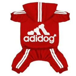 ADIDOG PET CLOTHES COAT SWEATER HOODLE JEACKET 4 LEGS OUTFIT JUMPSIUIT(RED13LBS