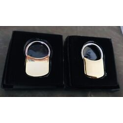 SET of 2 GOLD PLATED PULL APART VALET KEYCHAIN RING NEW