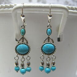 Carolyn Pollack Relios Earrings Sterling Silver Turquoise Dangle Leverback