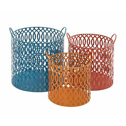 Modern And Unique Inspired Style Metal Basket Set Of 3 Home Decor 34976