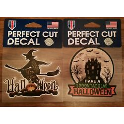 Halloween Perfect Cut Decals, Lot of 2, Witch & Haunted House, WinCraft USA Made