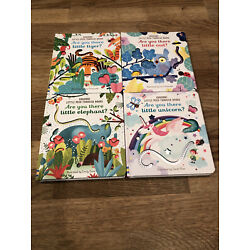 Lot 4 New Usborne Little Peek Through Book ''Are You There'' Board Book Owl Tiger