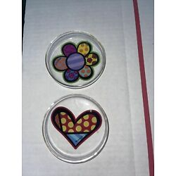 2pc Romero Britto Glass Coasters / Dish Giftcraft Butterfly Flower Heart 14072