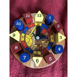 Holgate USA Wood Puzzle Time Clock Homeschool Educational Numbers Colors Shapes