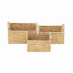 Zimlay Contemporary Round Seagrass Set Of 3 Baskets With Handles 41143