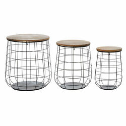 Zimlay Set Of 3 Weave Baskets With Wooden Lids 42537