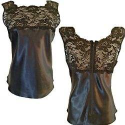 FARR WEST Black Stretch-Lace+Shiny Luxe Satin Charmeuse Zip-Up Camisole S TTCB