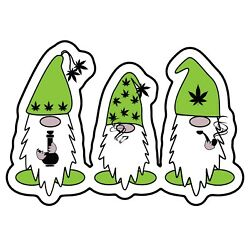 LARGE Stoned Weed Gnome Pipe Bong Joint Cannabis Marijuana 6.5  Sticker