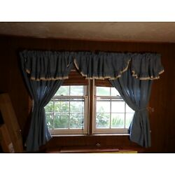 Country Curtains Blue with a lace trim  very attractive