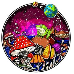 Space Trip Trippy Psychedelic Shrooms Frog Hippie 6  Sticker